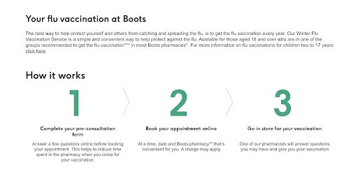 Boots' booking page for activity appointments